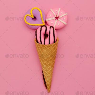 Fashion Donut Ice cream. Pink Candy Minimal Flatlay art.