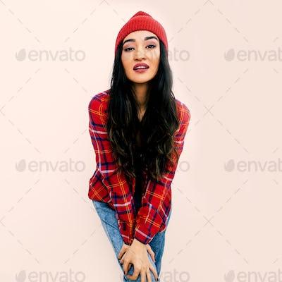 Stylish brunette Model. Urban Fashion Outfit. Checkered shirt, j