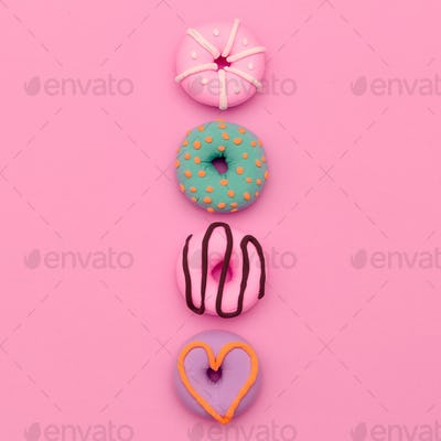 Fashion Donut Mix.  Pink Candy Minimal Flatlay art.