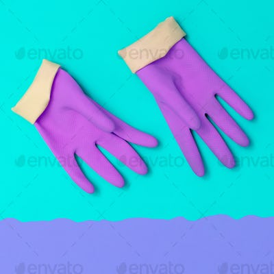 Purple Rubber gloves. Minimal. Pastel colors Trends