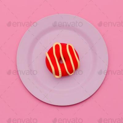 Donut. Flat lay. Candy minimal art. Sweet Vanilla vibes