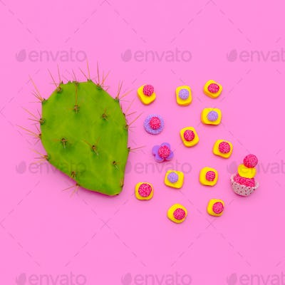 Candy and Cactus Sweet Lover.  Minimal Fashion Flatlay