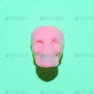 Pink Skull. Fashion Minimal Art. Candy mood