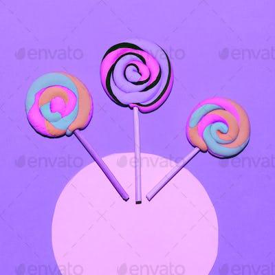 Marshmallow Lollipop. Minimal. Candy colorful mood Flatlay