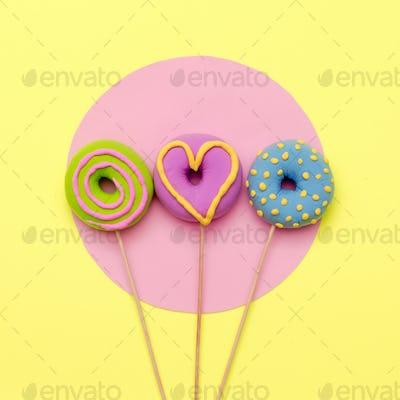 Fashion Donuts. Candy Minimal Flatlay art.