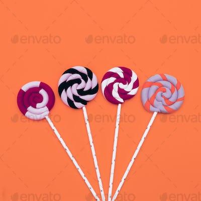 Lollipop Set. Candy Minimal Fashion Flatlay art