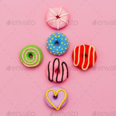 Fashion Donut Set. Pink Candy Minimal Flatlay art.