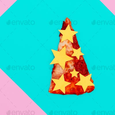 Slice of pizza. Fast Food Art. Flat lay minimal concept. Candy c