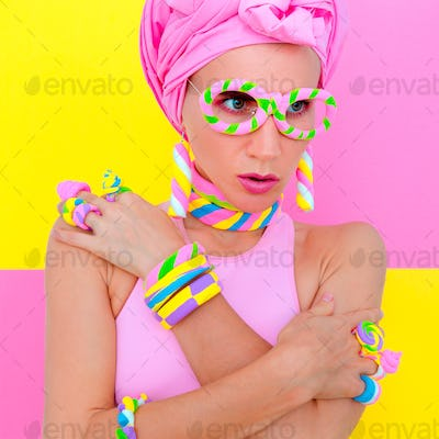 Candy Sweet Fashion Girl in marshmallow accessory. Candy chic