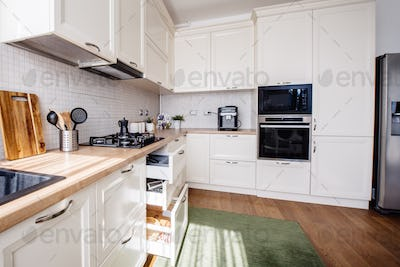 Modern kitchen design, new furniture and new home