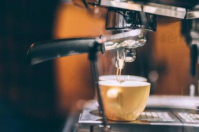 professional coffee machine preparing fresh coffee