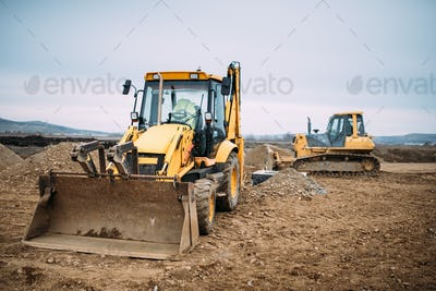Industrial backhoe excavator loader