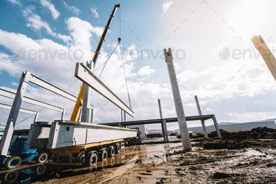Industrial construction site of prefabricated hall