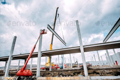 Heavy duty industrial crane operating on construction site