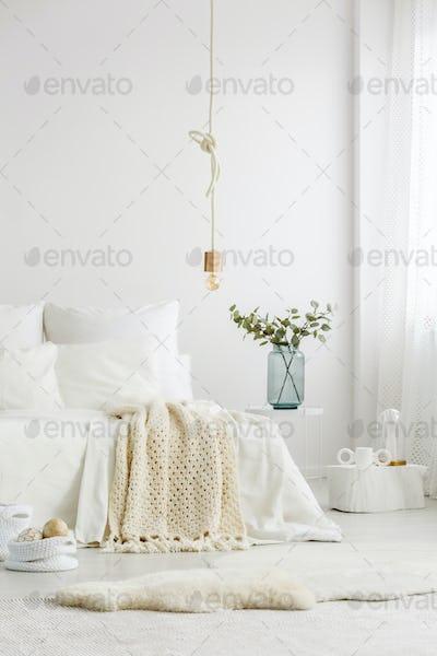 Minimalist bedroom with creative decorations