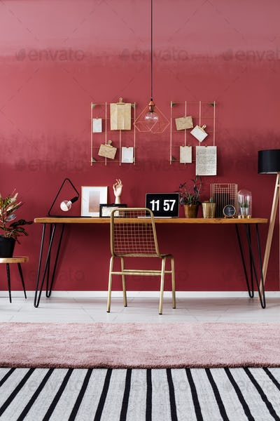 Simple red room interior
