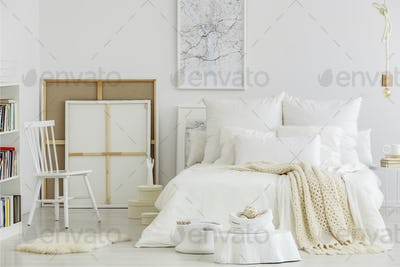 Artist's bedroom with canvas