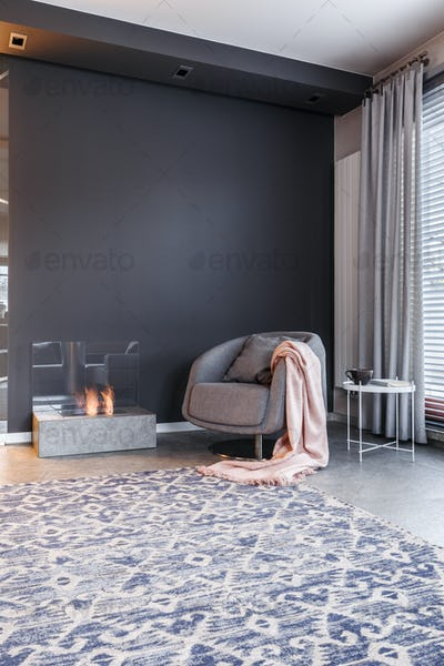 Dark, elegant living room interior