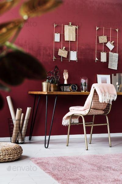 Feminine pink home office interior