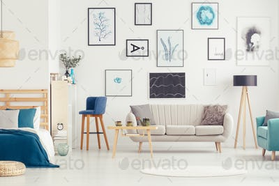 Open space interior with posters