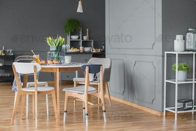 Dining space in kitchen interior