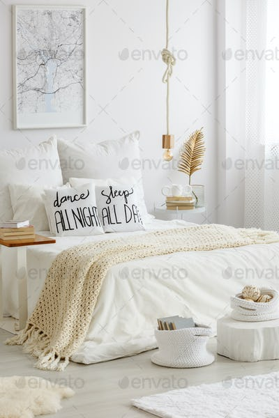Stylish bedroom for reading enthusiast