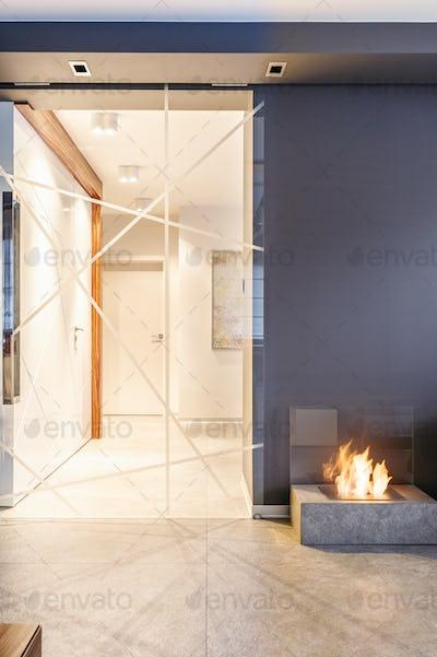 Glass door leading to corridor