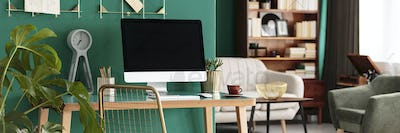 Home office desk with computer