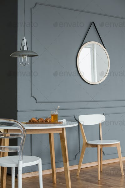 Mirror on wall with molding
