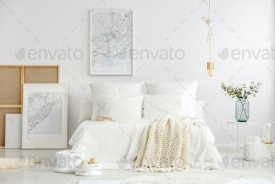 White minimalist master bedroom interior