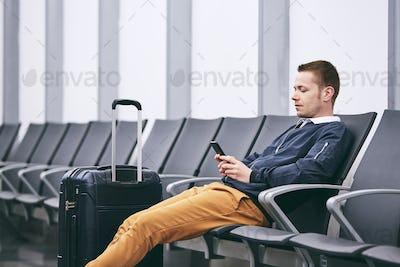 Waiting in airport terminal