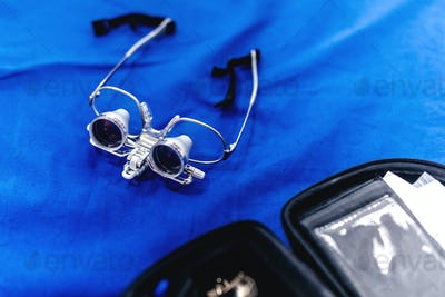 Surgery goggles, loupes. Healthcare details, hospital equipment