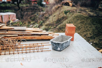 industrial construction site with tools and wire rod