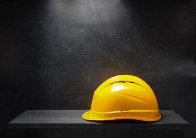 construction helmet on black