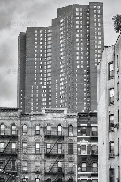 Black and white picture of buildings in the New York City.