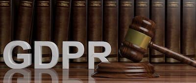 EU General Data Protection Regulation. GDPR on European Union flag. 3d illustration