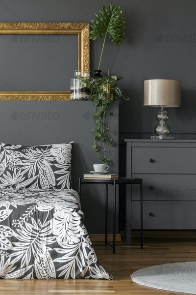 Floral bedroom interior with mockup