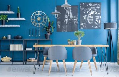 Blue dining room interior