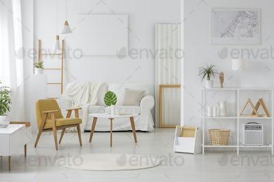Spacious, white living room interior