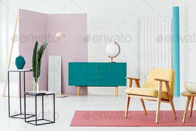 Blue sideboard and industrial tables