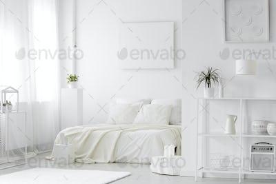 Cozy, white bedroom interior