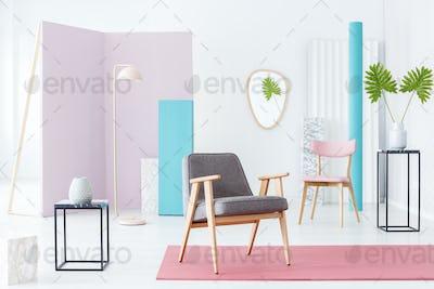 Armchair in pastel room