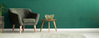 Comfortable armchair in green interior