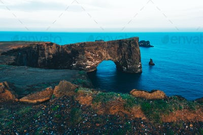 Unique basalt arch on Dyrholaey