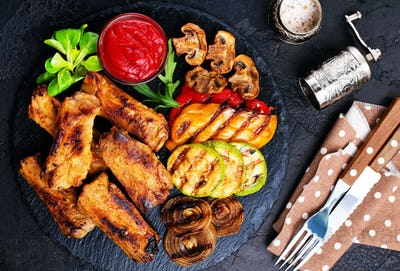 grilled vegetables and ribs