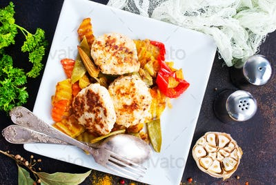 baked vegetables with cutlet