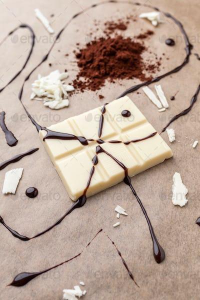 Delicious white chocolate and cocoa powder