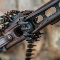 Detail of an old disused machine gun