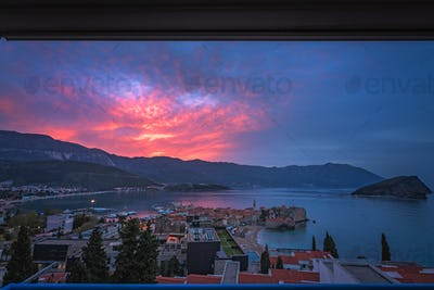 Sunset over Budva