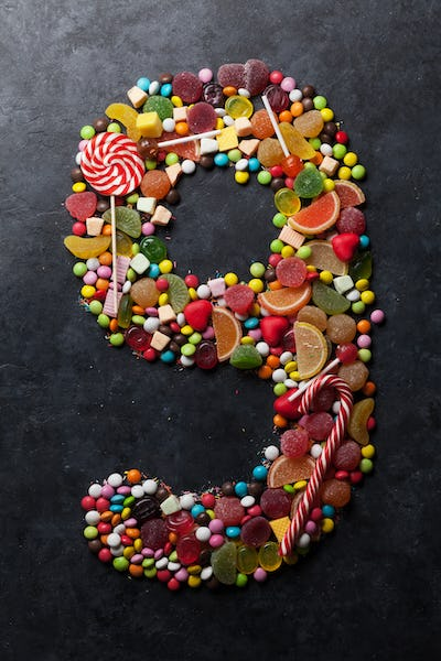 Number nine made from candies